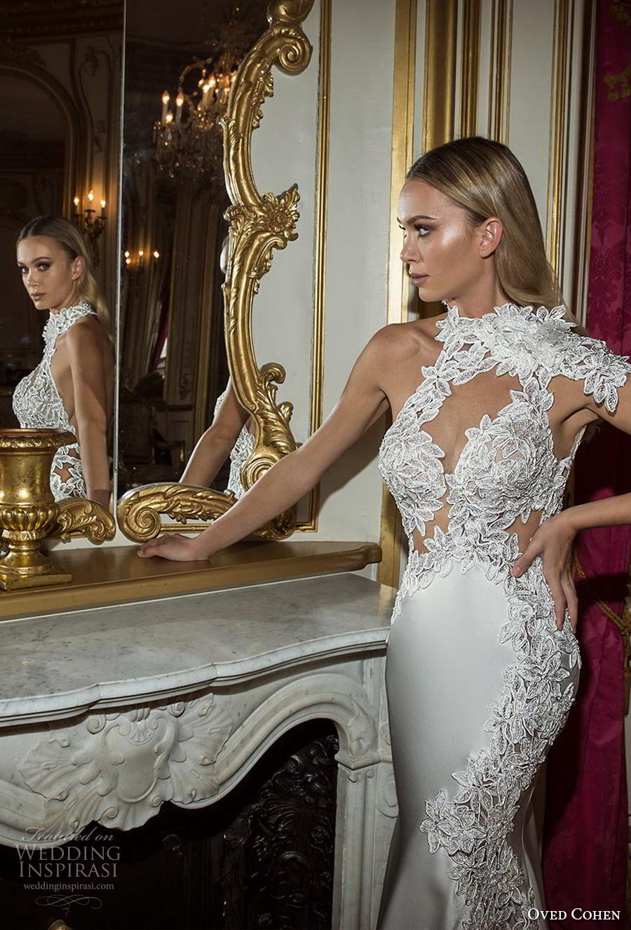 oved cohen 2018 bridal asymmetrical high neck keyhole sweetheart neck heavily embellished bodice glamorous elegant fit and flare wedding dress medium train (8) zv