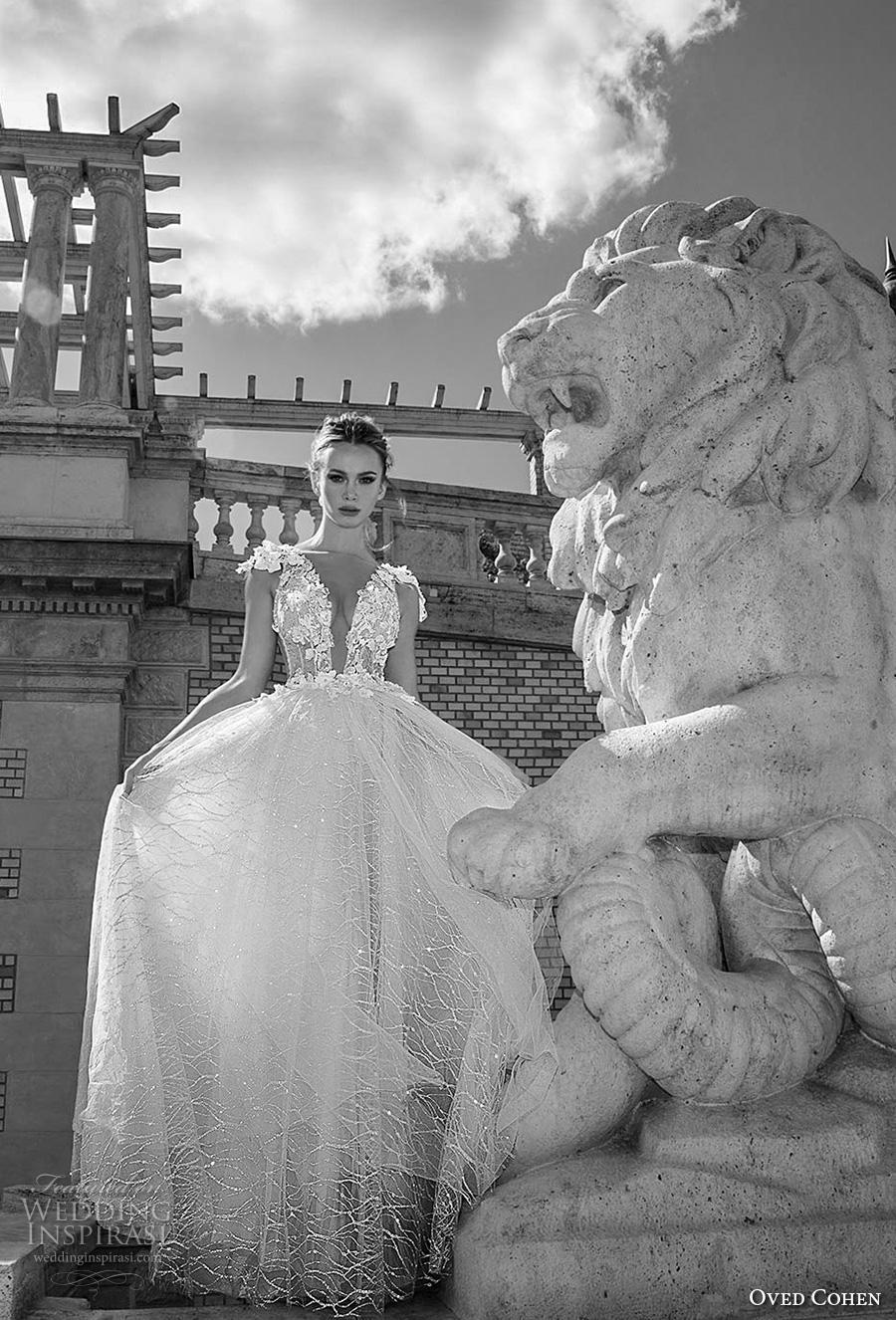 oved cohen 2018 bridal cap sleeves deep plunging neckline heavily embellished bodice romantic a  line wedding dress (1) mv