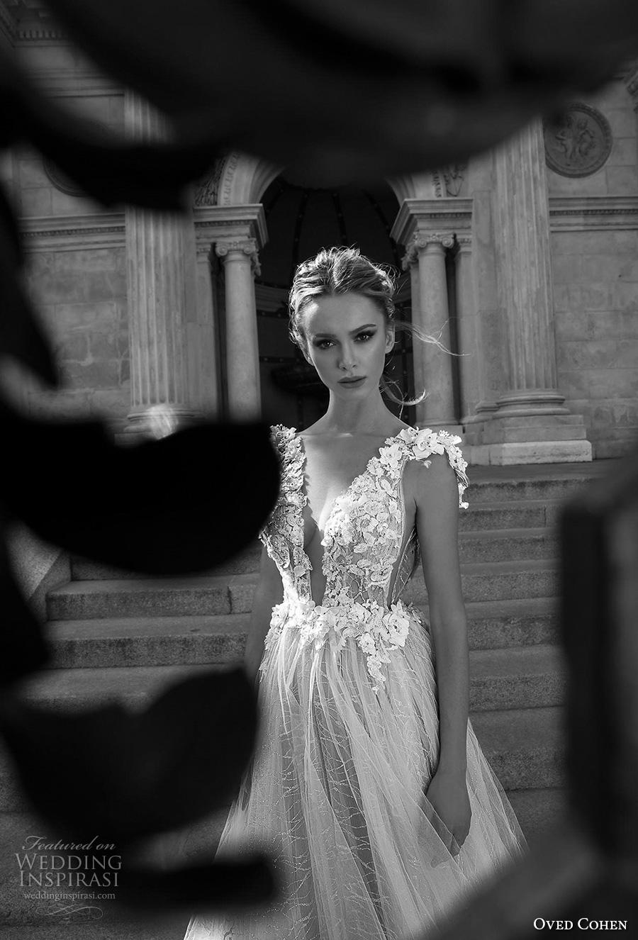 oved cohen 2018 bridal cap sleeves deep plunging neckline heavily embellished bodice romantic a  line wedding dress (1) zv