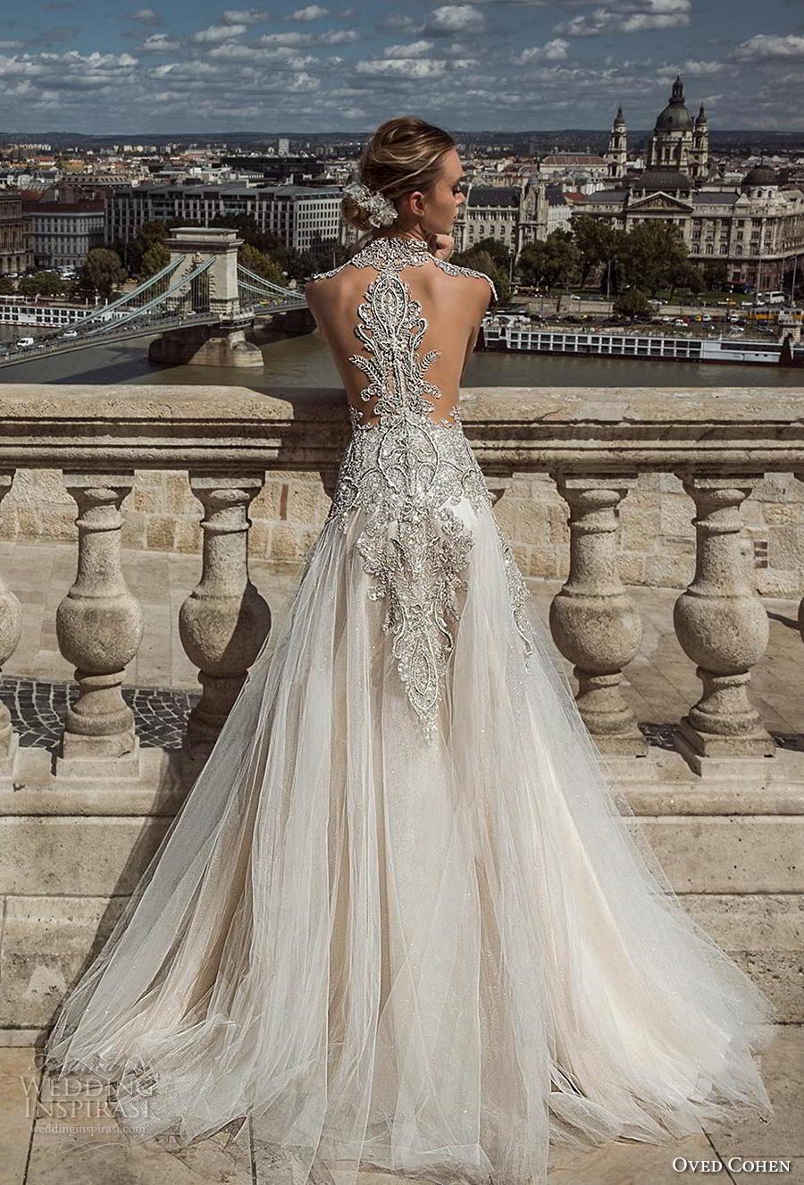oved cohen 2018 bridal cap sleeves deep sweetheart neckline heavily embellished bodice glitzy glamorous a  line wedding dress rasor back chapel train (4) bv