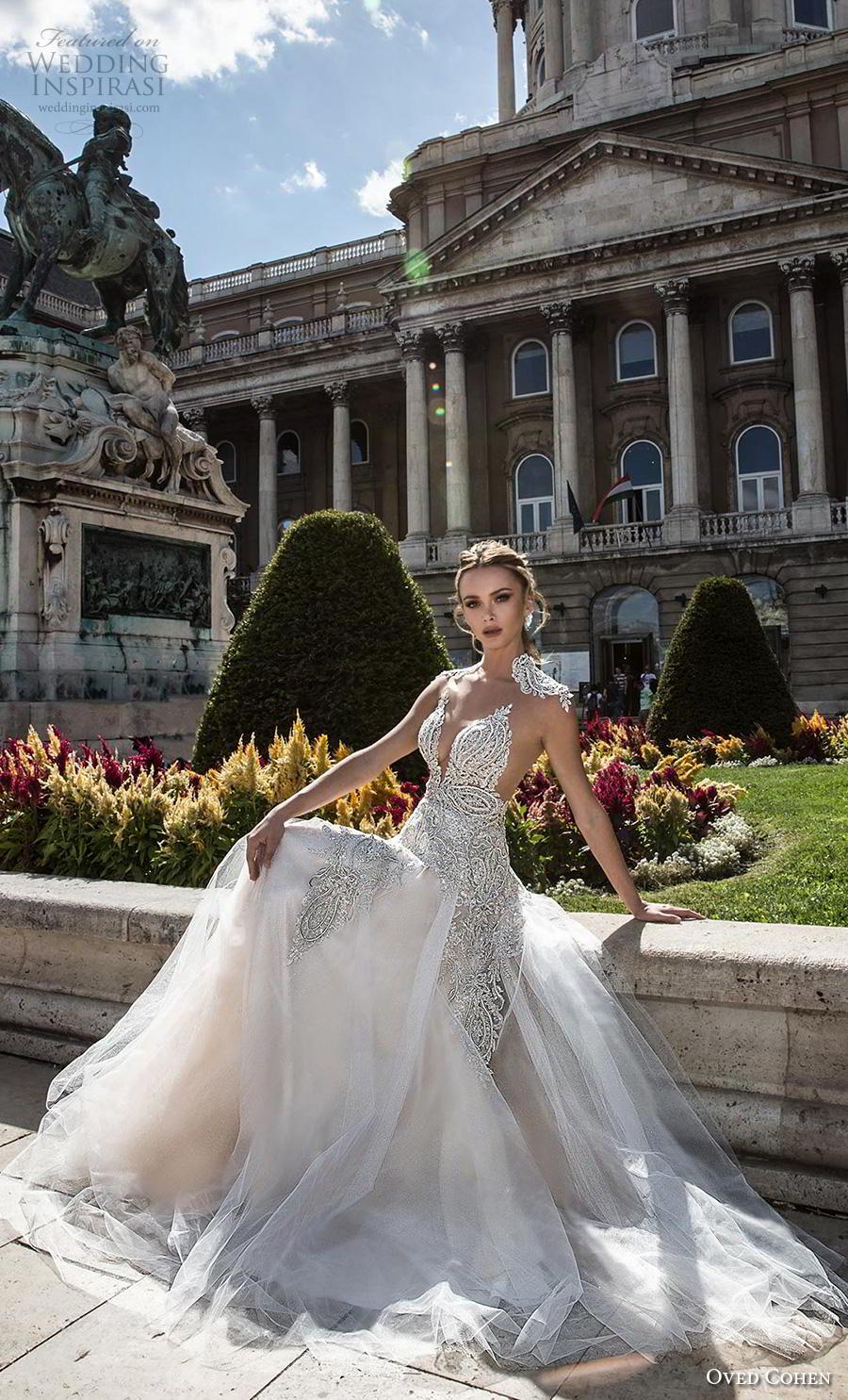 oved cohen 2018 bridal cap sleeves deep sweetheart neckline heavily embellished bodice glitzy glamorous a  line wedding dress rasor back chapel train (4) mv
