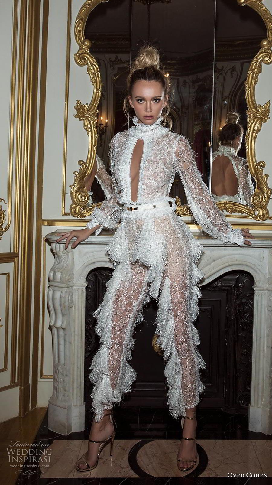 oved cohen 2018 bridal long bishop sleeves high neck keyhole bodice full embellishment modern glamorous sexy jumpsuit wedding dress (14) mv