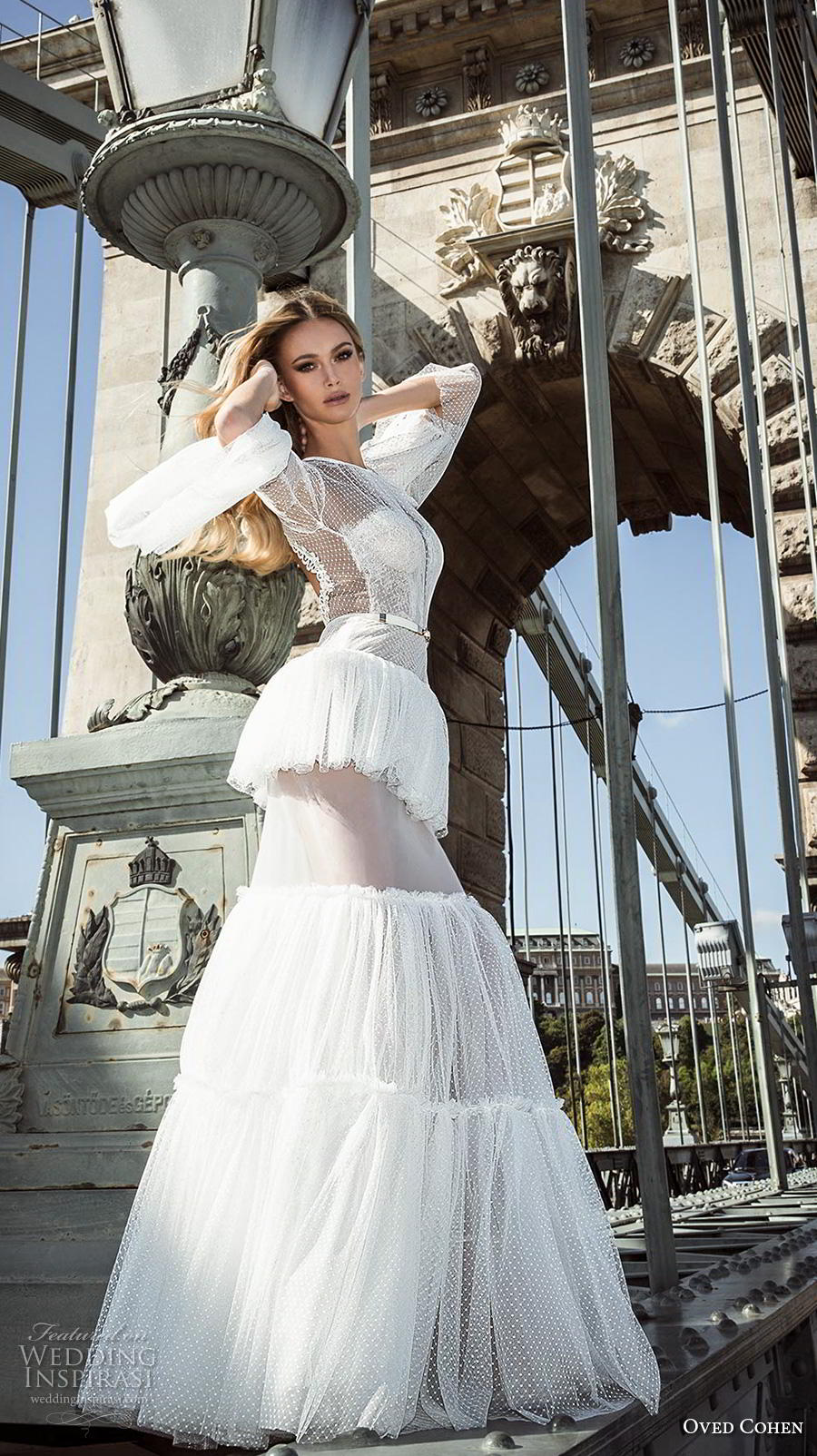 oved cohen 2018 bridal long lantern sleeves illusion jewel sweetheart neckline tiered skirt boho modern mermaid wedding dress sweep train (11) mv