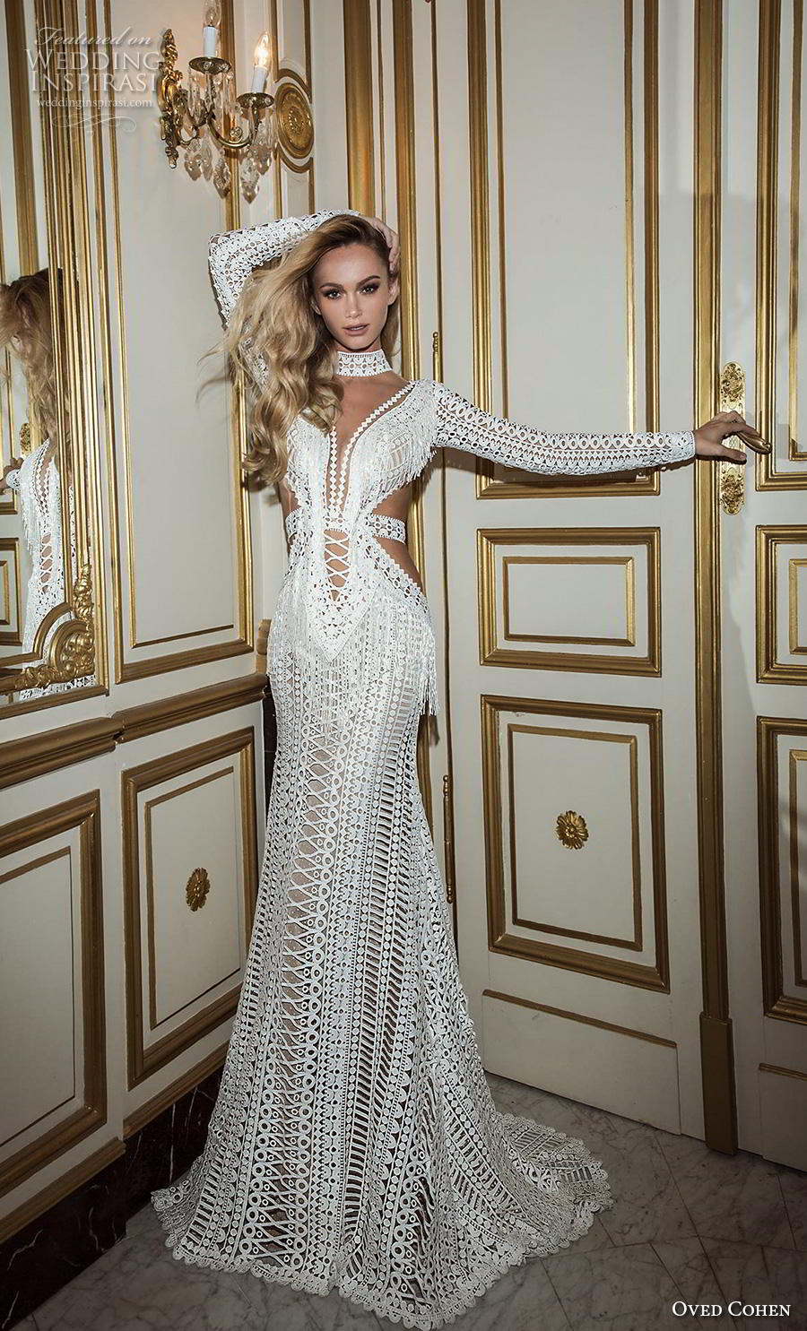 oved cohen 2018 bridal long sleeves high neck deep plunging sweetheart neckline full embellishment sexy boho modified a  line wedding dress sweep train (9) mv