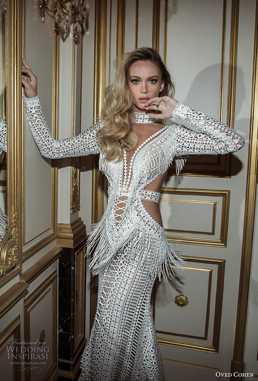 oved cohen 2018 bridal long sleeves high neck deep plunging sweetheart neckline full embellishment sexy boho modified a  line wedding dress sweep train (9) zv