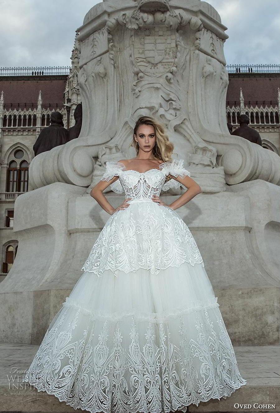 oved cohen 2018 bridal off the shoulder sweetheart neckline full embellishment bustier romantic ball gown a  line wedding dress (6) mv
