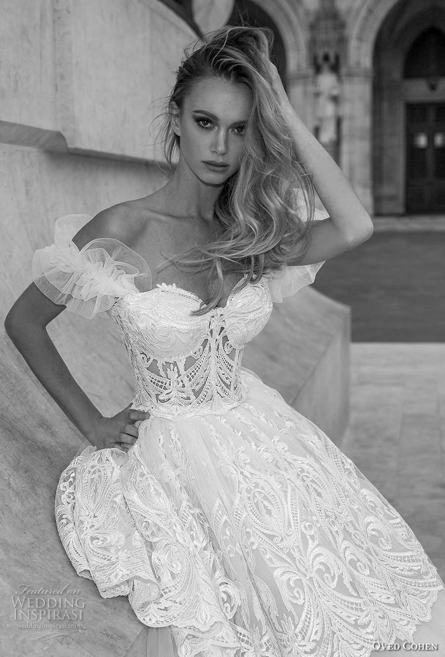 oved cohen 2018 bridal off the shoulder sweetheart neckline full embellishment bustier romantic ball gown a  line wedding dress (6) zv