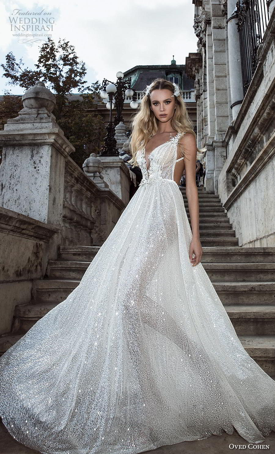 oved cohen 2018 bridal sleeveless deep plunging v neck full embellishment glitzy glamorous sexy a  line wedding dress backless (3) mv