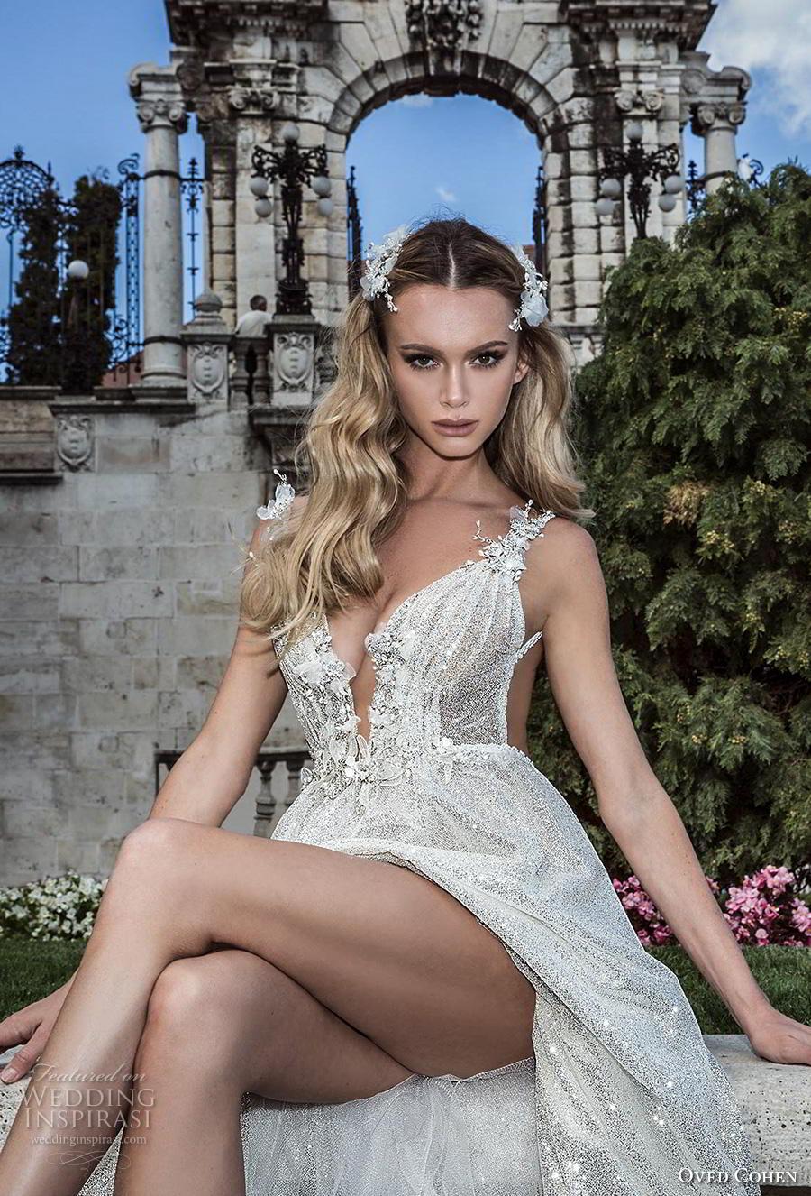 oved cohen 2018 bridal sleeveless deep plunging v neck full embellishment glitzy glamorous sexy a  line wedding dress backless (3) zv