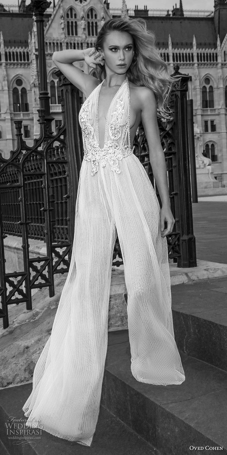 oved cohen 2018 bridal sleeveless deep plunging v neck heavily embellished bodice sexy modern jumpsuit wedding dress (12) lv