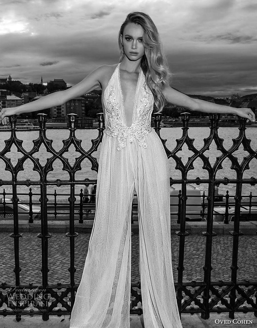 oved cohen 2018 bridal sleeveless deep plunging v neck heavily embellished bodice sexy modern jumpsuit wedding dress (12) mv