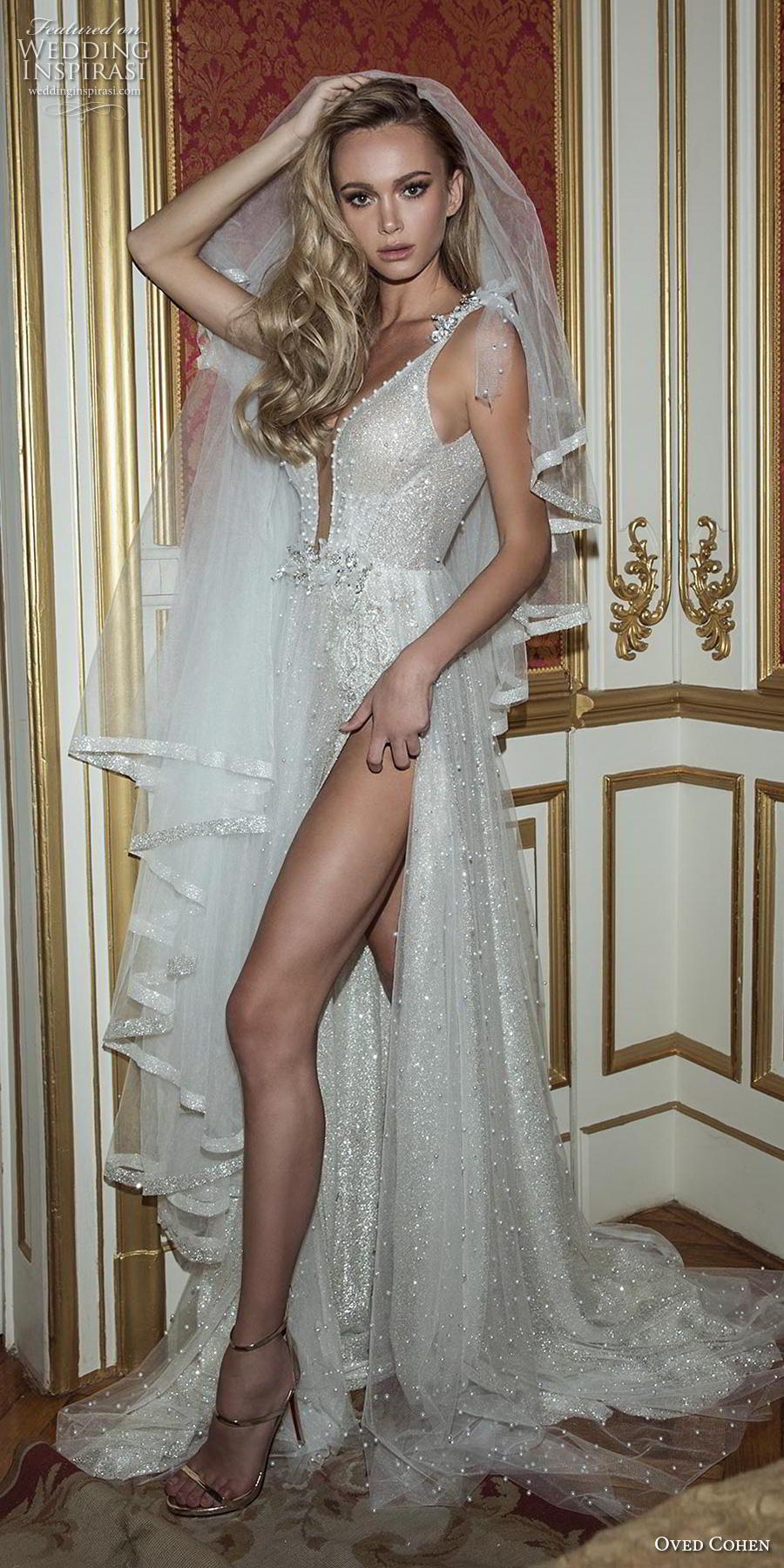 oved cohen 2018 bridal sleeveless thin strap deep plunging sweetheart neckline full embellishment slit skirt glitzy glamorous sexy medium train (7) lv