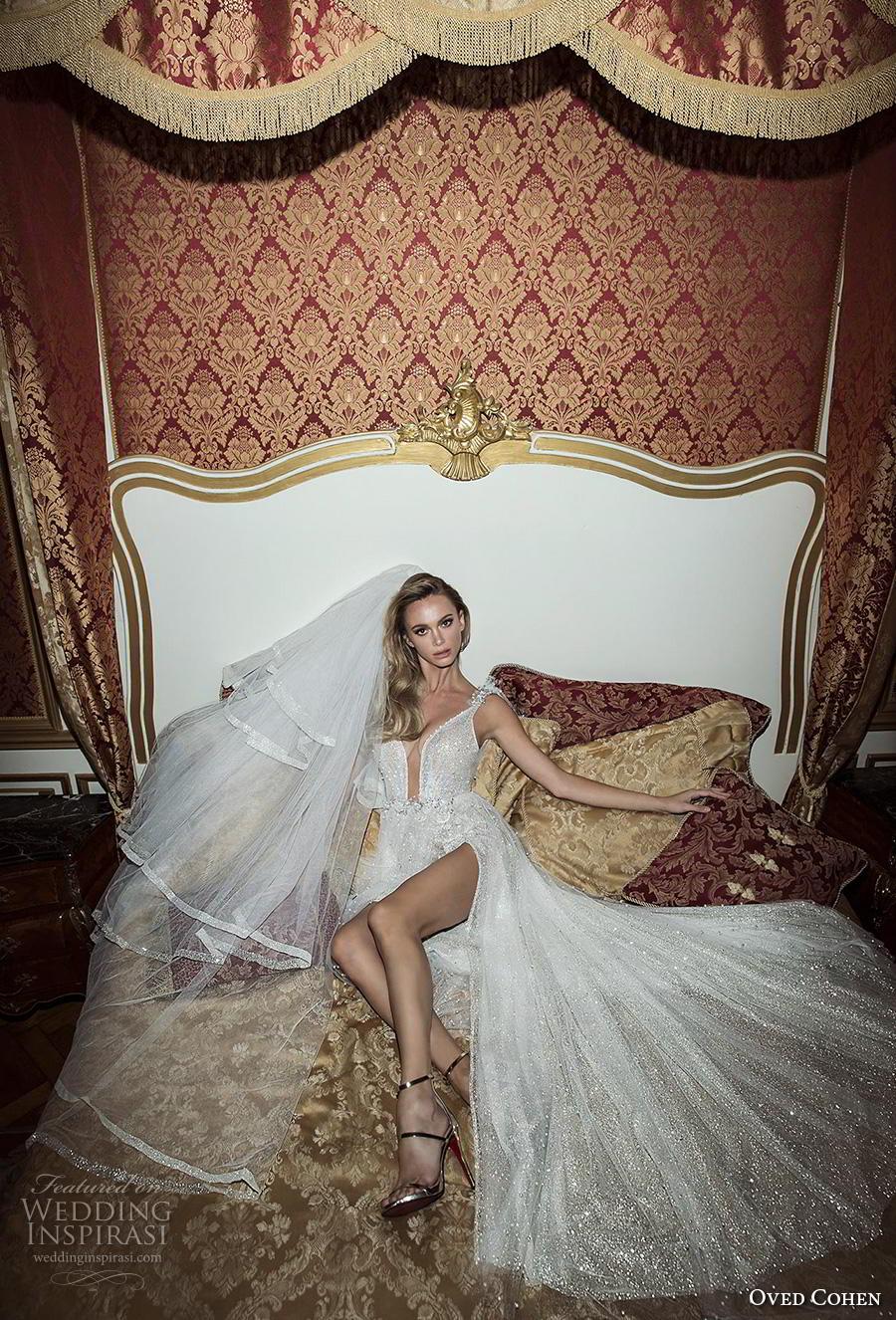 oved cohen 2018 bridal sleeveless thin strap deep plunging sweetheart neckline full embellishment slit skirt glitzy glamorous sexy medium train (7) mv
