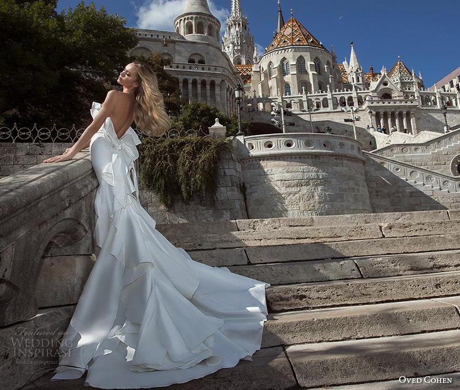 oved cohen 2018 bridal strapless asymmetrical neckline simple clean minimalist elegant fit and flare mermaid wedding dress chapel train (5) bv