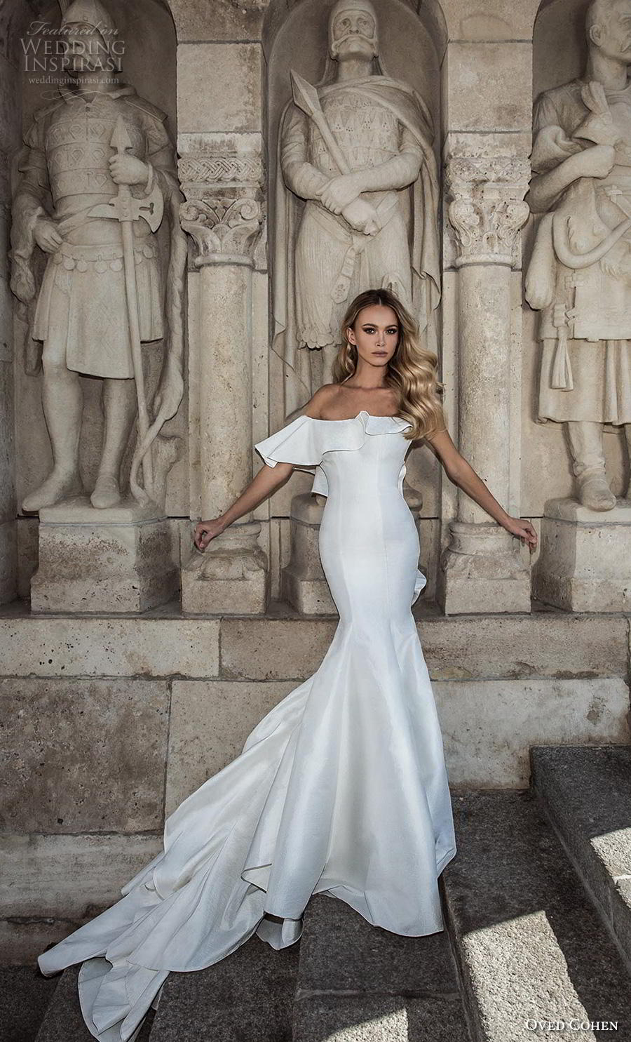oved cohen 2018 bridal strapless asymmetrical neckline simple clean minimalist elegant fit and flare mermaid wedding dress chapel train (5) mv