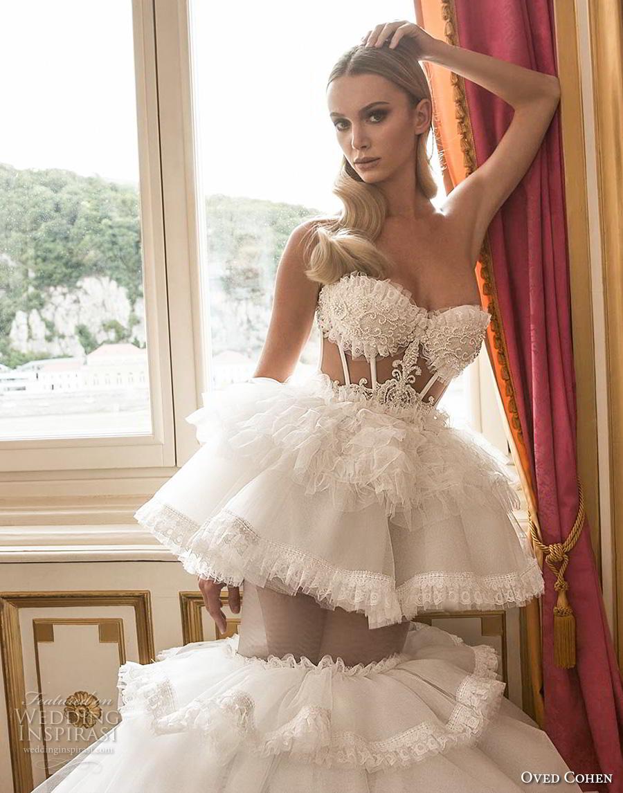 oved cohen 2018 bridal strapless sweetheart neckline heavily embellished bodice bustier tiered skirt glamorous a  line wedding dress (2) bz