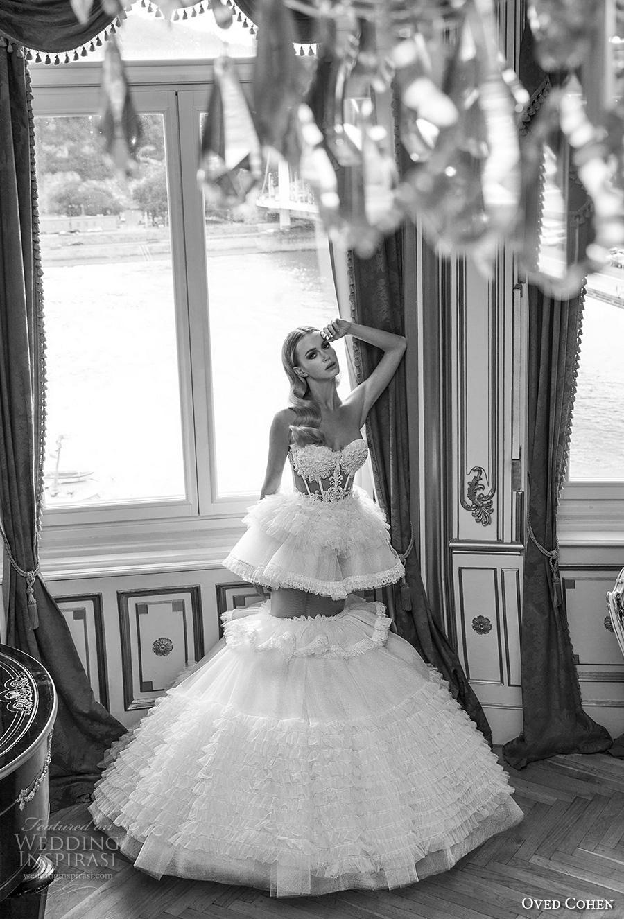 oved cohen 2018 bridal strapless sweetheart neckline heavily embellished bodice bustier tiered skirt glamorous a  line wedding dress (2) mv