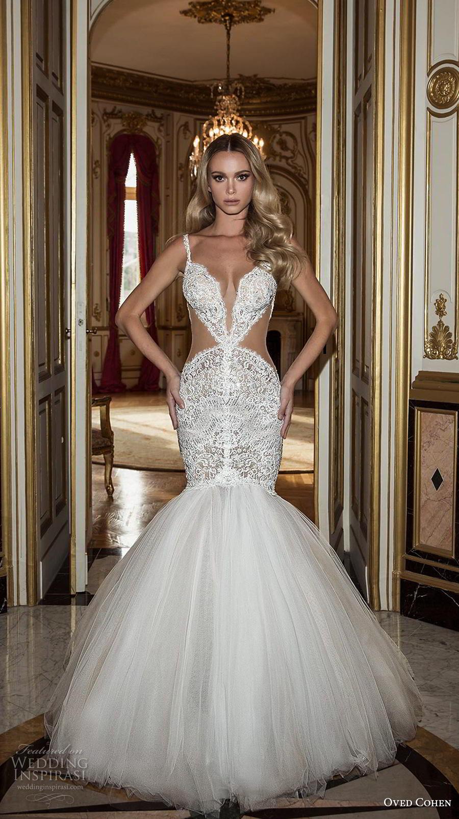 oved cohen 2018 bridal thin strap deep plunging sweetheart neckline full embellishment sexy glamorous mermaid wedding dress (10) mv