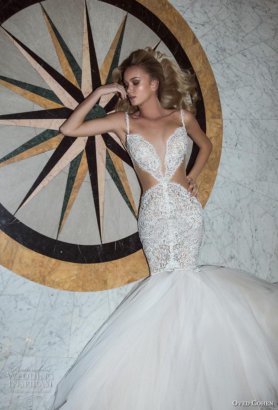 oved cohen 2018 bridal thin strap deep plunging sweetheart neckline full embellishment sexy glamorous mermaid wedding dress (10) zv