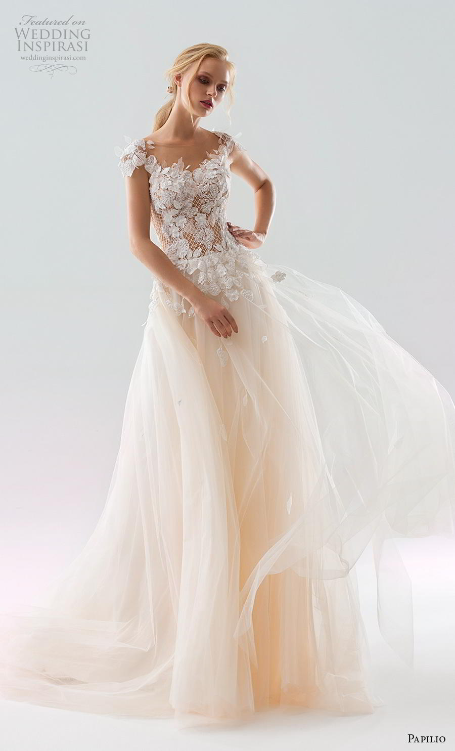 papilio 2019 bridal cap sleeves illusion bateau scoop neckline heavily embellished bodice peach colored soft a  line wedding dress backless v back chapel train (2) mv