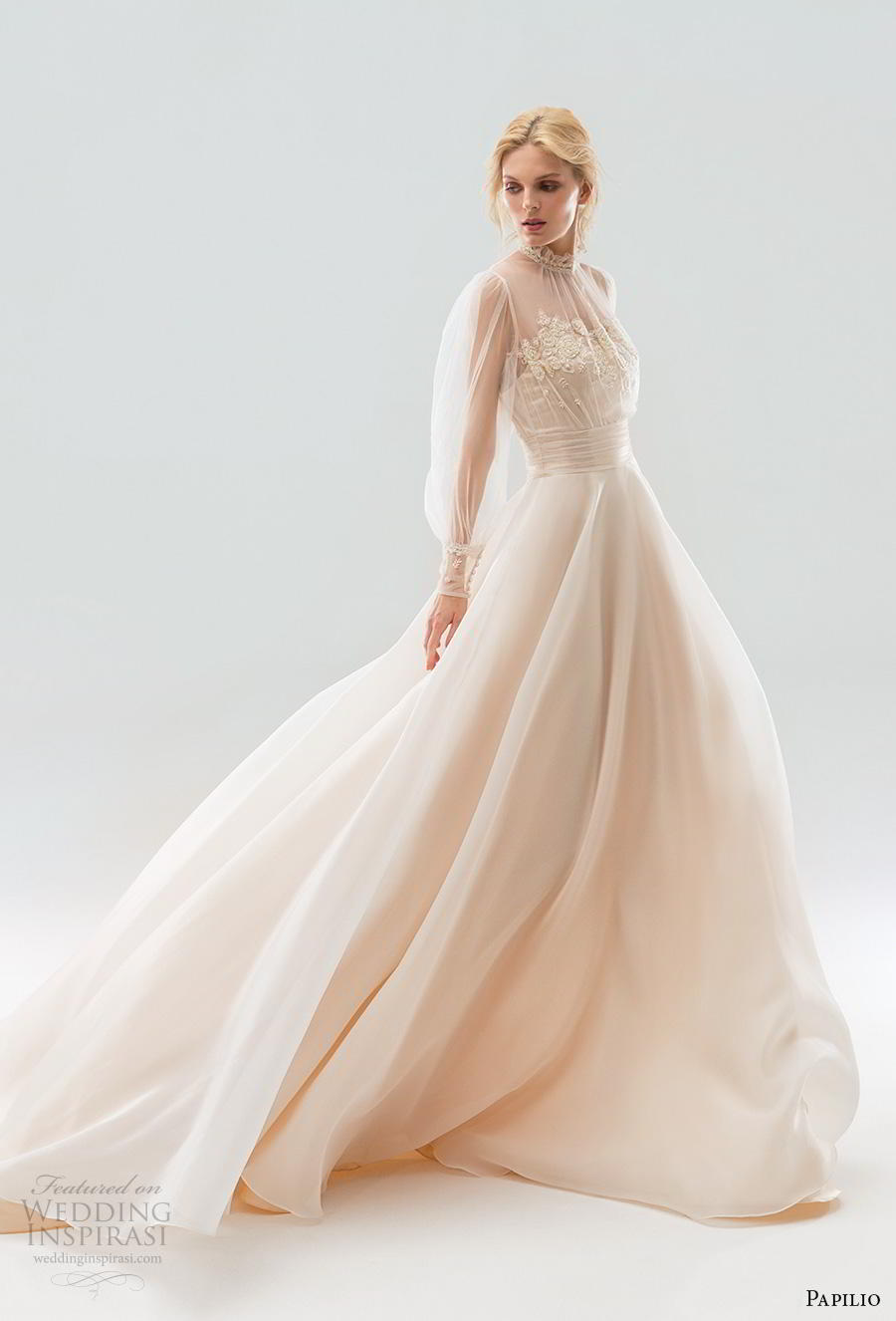 papilio 2019 bridal long bishop sleeves illusion high neck heavily embellished bodice romantic peach colored a  line wedding dress sheer button back chapel train (3) mv