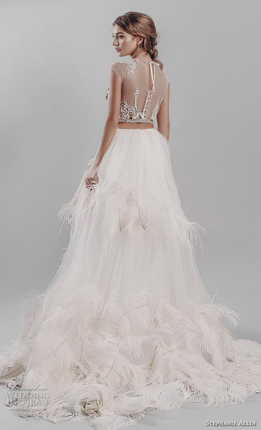 stephanie allin 2019 bridal cap sleeves jewel neck heavily embellished bodice ruffled skirt glitzy romantic glamorous a  line wedding dress sheer back (1) bv