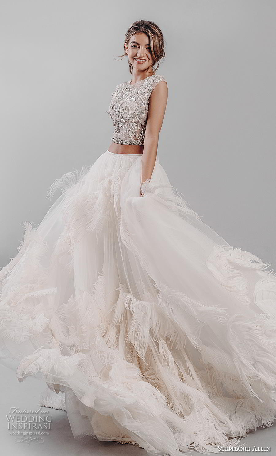 stephanie allin 2019 bridal cap sleeves jewel neck heavily embellished bodice ruffled skirt glitzy romantic glamorous a  line wedding dress sheer back (1) mv