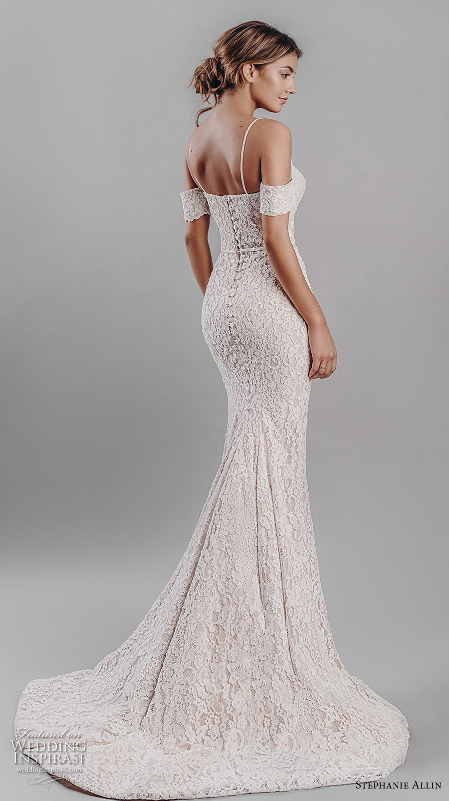 stephanie allin 2019 bridal cold shoulder spaghetti strap sweetheart neckline full embellishment elegant fit and flare wedding dress mid back short train (4) bv