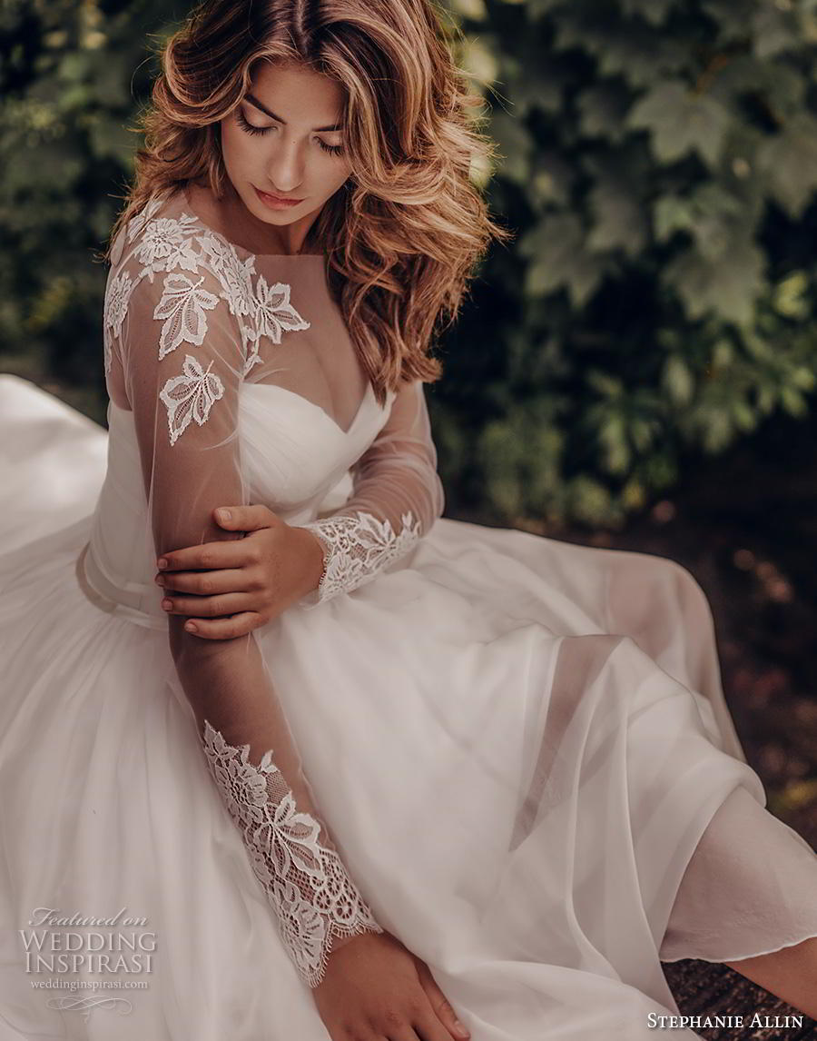 stephanie allin 2019 bridal long sleeves illusion bateau sweetheart neckline ruched bodice romantic soft a  line wedding dress mid back sweep train (5) zv