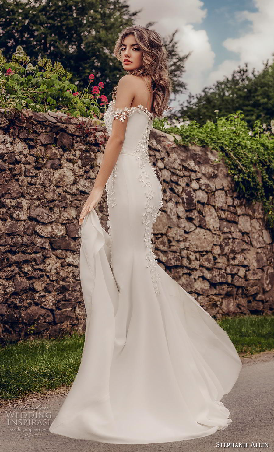 stephanie allin 2019 bridal off the shoulder straight across neckline heavily embellished bodice elegant fit and flare wedding dress mid back chapel train (3) bv