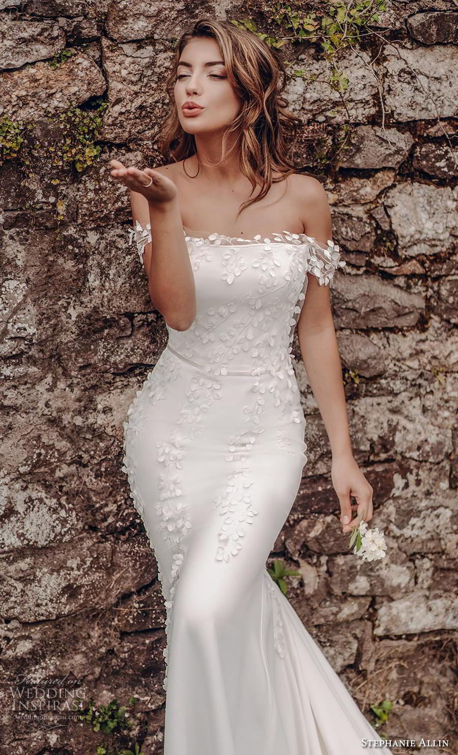 stephanie allin 2019 bridal off the shoulder straight across neckline heavily embellished bodice elegant fit and flare wedding dress mid back chapel train (3) zv