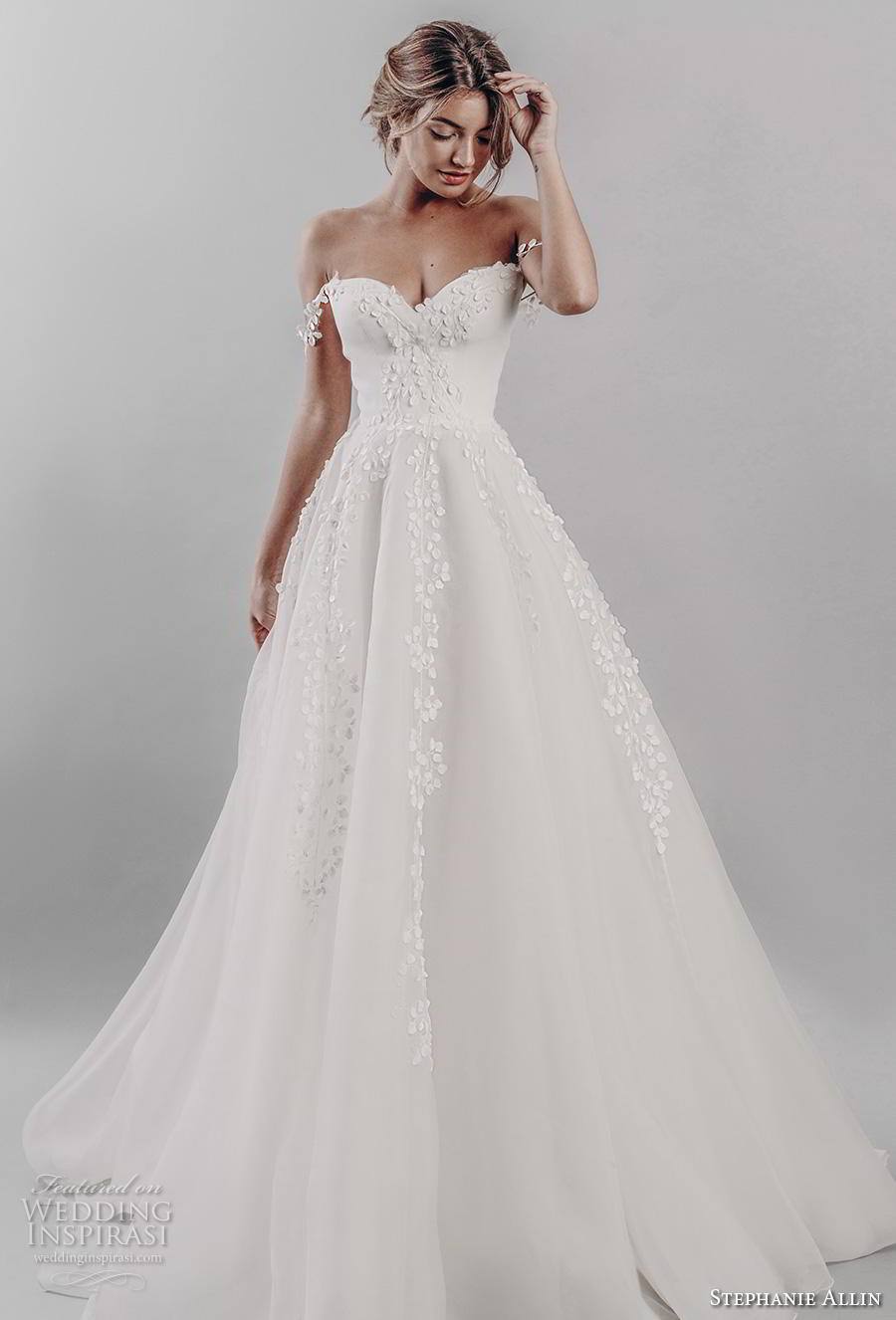 stephanie allin 2019 bridal off the shoulder sweetheart neckline heavily embellished bodice romantic a  line wedding dress mid back chapel train (10) mv