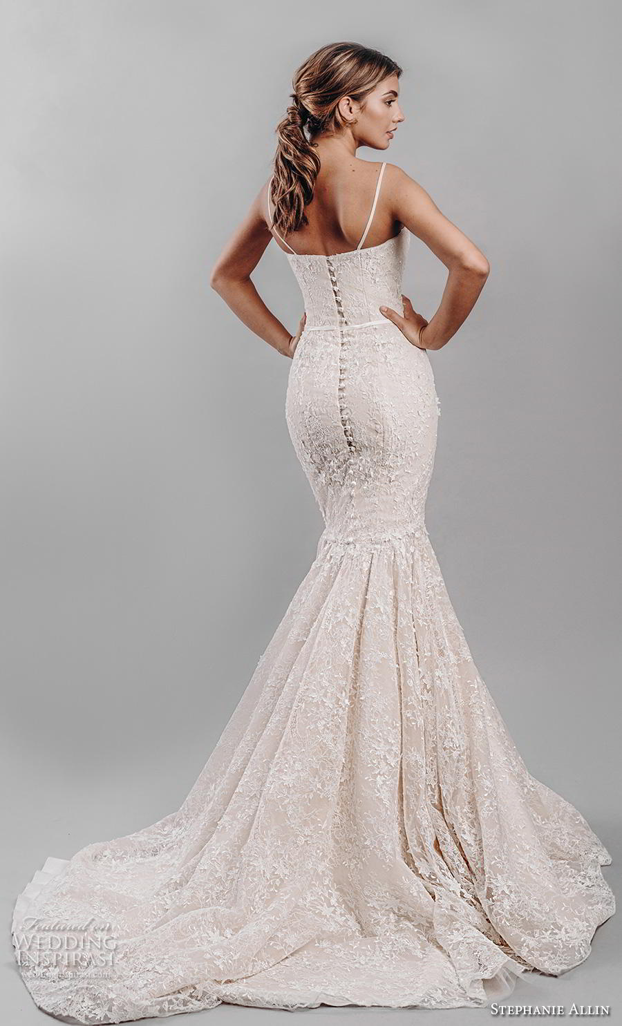 stephanie allin 2019 bridal sleeveless spaghetti strap sweetheart neckline full embellishment bustier sexy elegant blush mermaid wedding dress mid back chapel train (7) bv