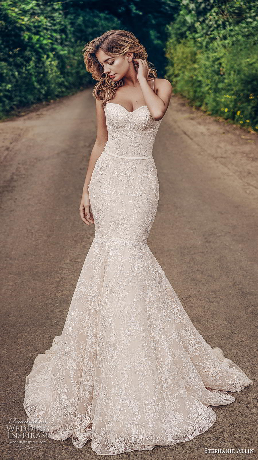 stephanie allin 2019 bridal sleeveless spaghetti strap sweetheart neckline full embellishment bustier sexy elegant blush mermaid wedding dress mid back chapel train (7) mv
