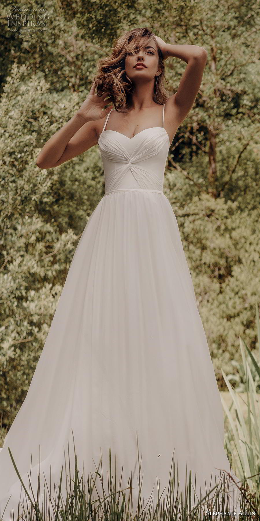 stephanie allin 2019 bridal sleeveless spaghetti strap sweetheart neckline ruched bodice romantic soft a  line wedding dress mid back sweep train (5) mv