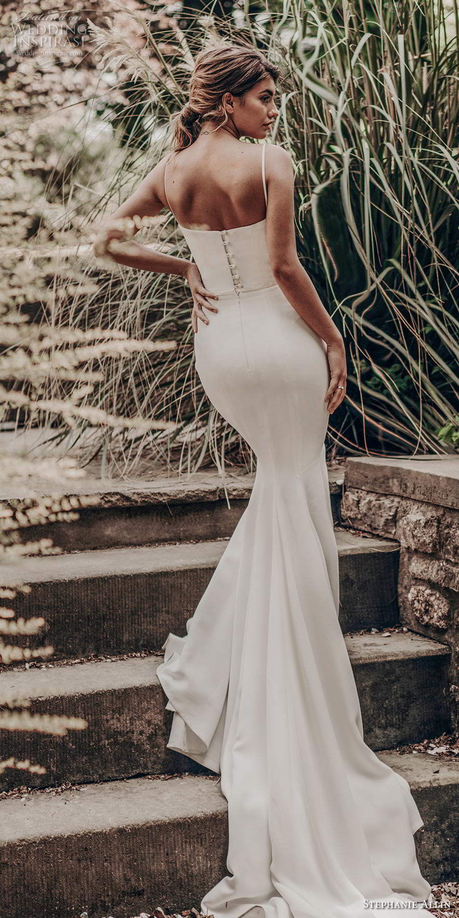 stephanie allin 2019 bridal sleeveless spaghetti strap sweetheart neckline simple minimalist clean elegant sheath wedding dress mid back chapel train (2) bv