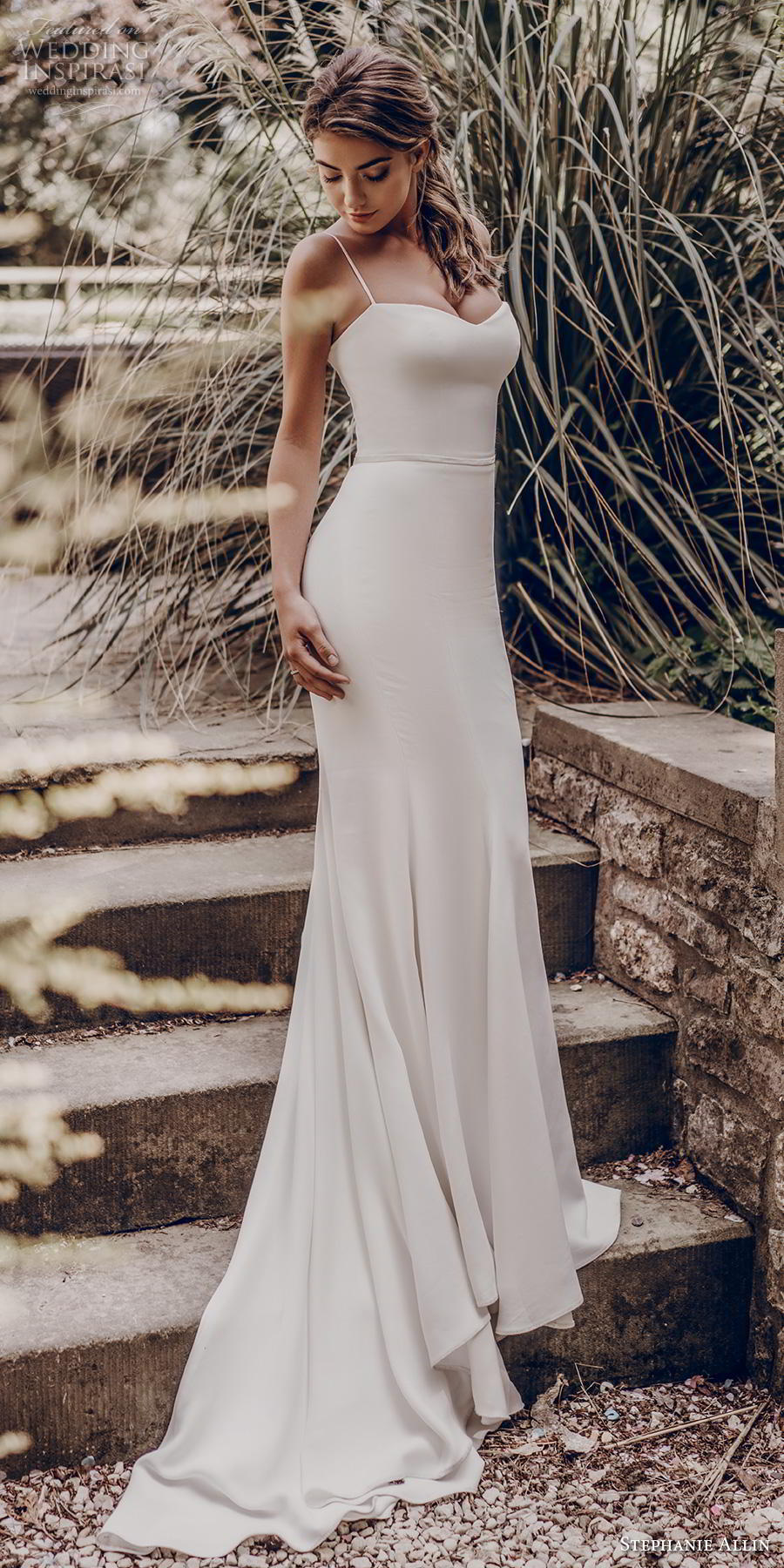 stephanie allin 2019 bridal sleeveless spaghetti strap sweetheart neckline simple minimalist clean elegant sheath wedding dress mid back chapel train (2) mv