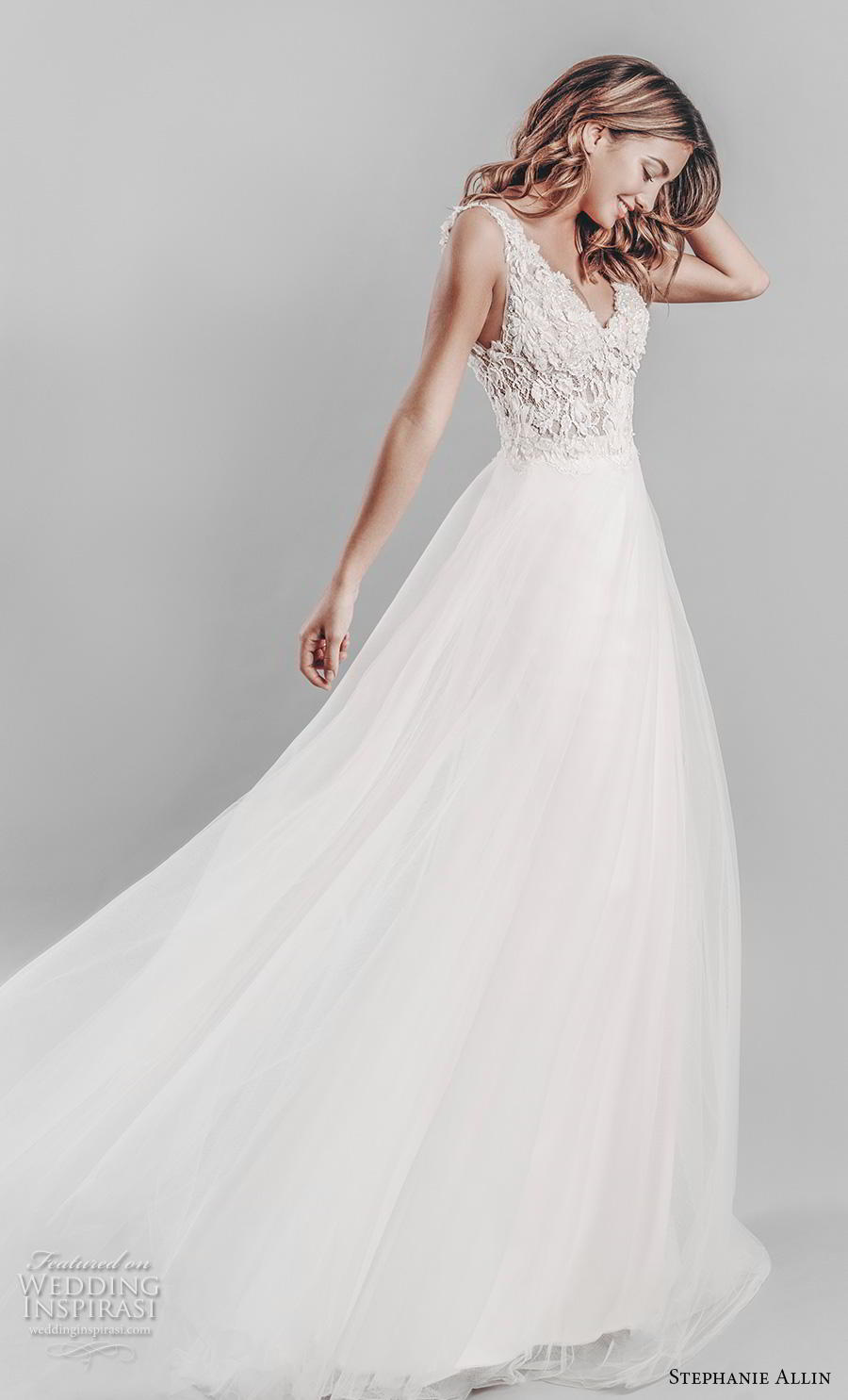 stephanie allin 2019 bridal sleeveless v neck heavily embellished bodice romantic a  line wedding dress open v back chapel train (13) mv