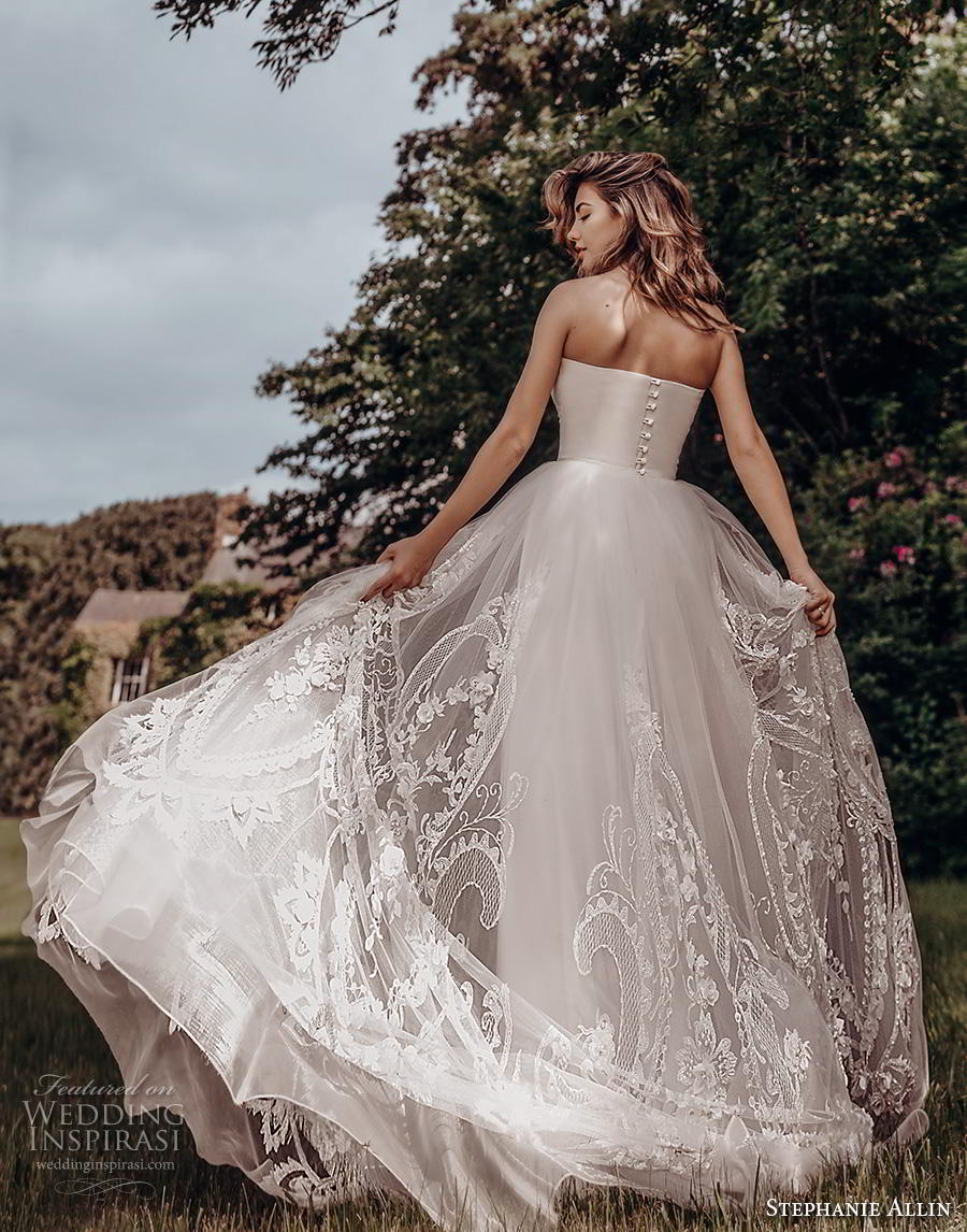 stephanie allin 2019 bridal strapless straight across neckline simple bodice heavily embellished skirt romantic soft a  line wedding dress short train (8) bv