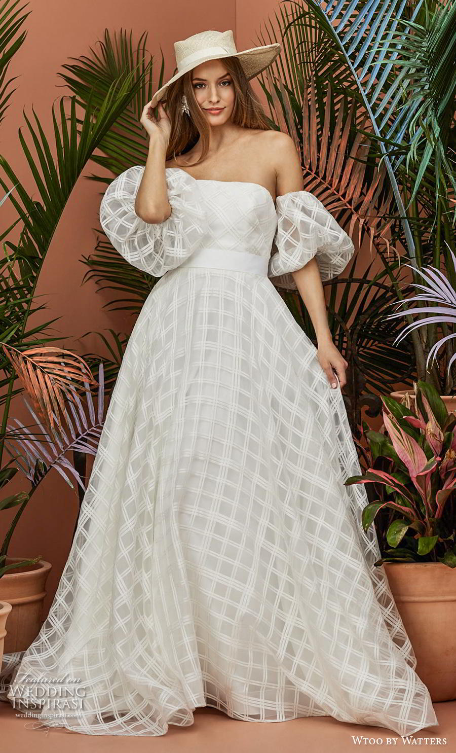 wtoo by watters fall 2018 bridal half balloon sleeves off the shoulder straight aross neckline full embsllishment checkered romantic a  line wedding dress pockets backless chapel train (8) mv