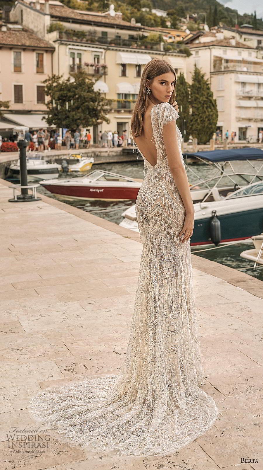 berta 2019 privee bridal cap sleeves deep v neck full embellishment glitzy elegant fit and flare wedding dress backless v back medium train (10) bv