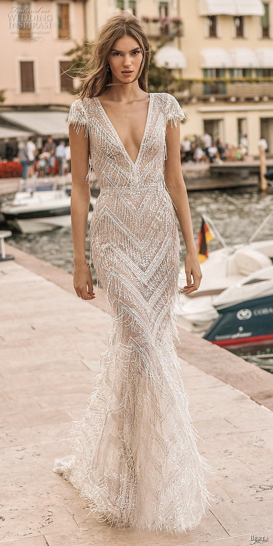 berta 2019 privee bridal cap sleeves deep v neck full embellishment glitzy elegant fit and flare wedding dress backless v back medium train (10) lv