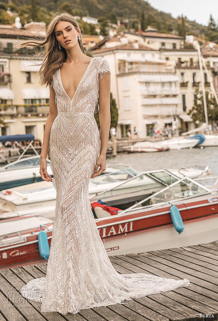 berta 2019 privee bridal cap sleeves deep v neck full embellishment glitzy elegant fit and flare wedding dress backless v back medium train (10) mv