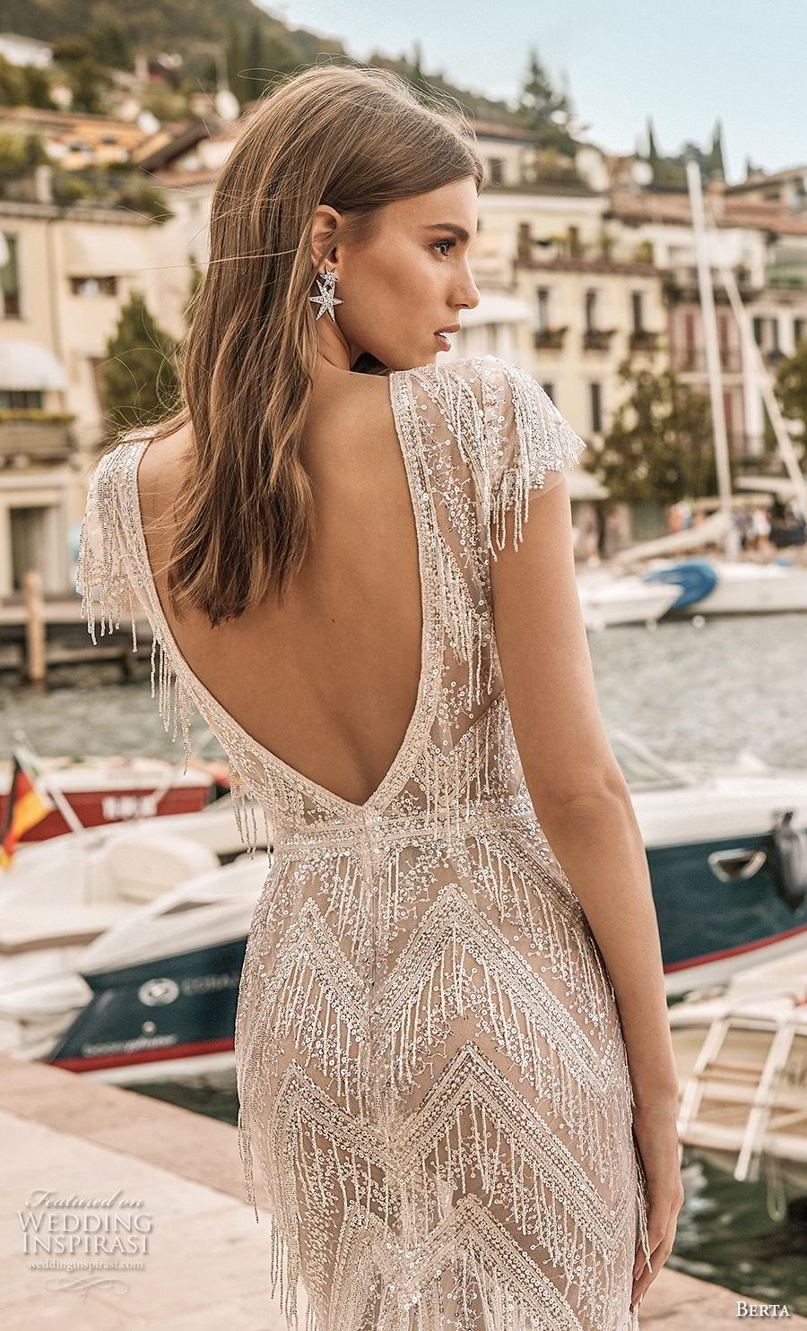 berta 2019 privee bridal cap sleeves deep v neck full embellishment glitzy elegant fit and flare wedding dress backless v back medium train (10) zbv