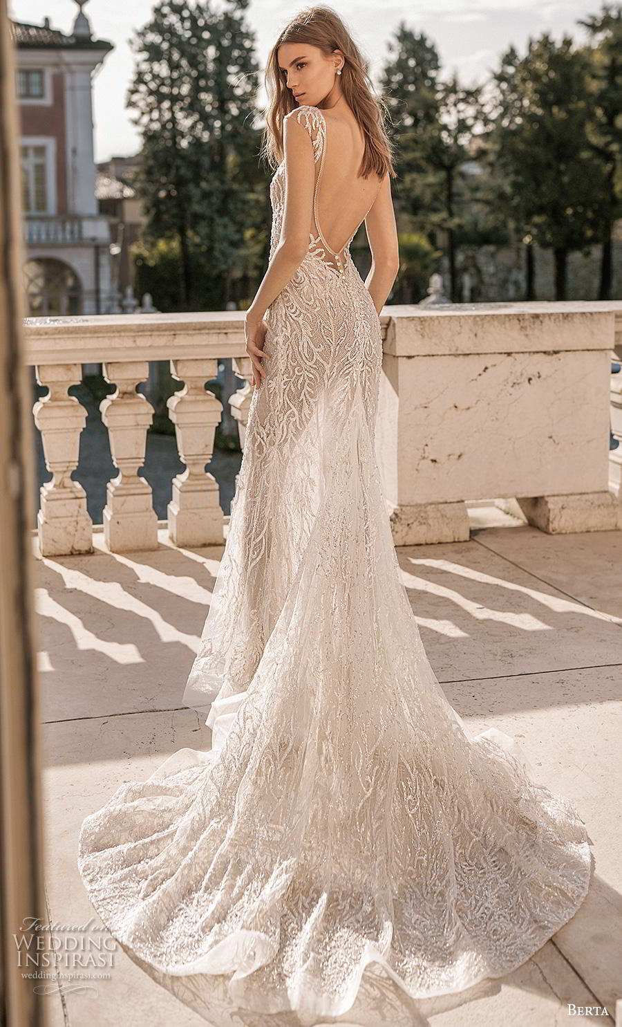 berta 2019 privee bridal cap sleeves deep v neck full embellishment sexy glamorous modified a  line wedding dress low open back backless chapel train (7) bv