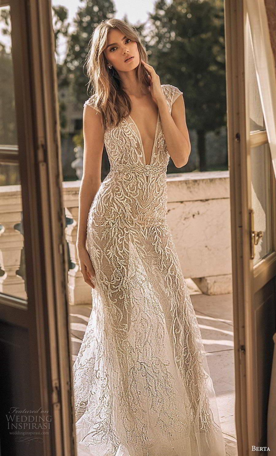 berta 2019 privee bridal cap sleeves deep v neck full embellishment sexy glamorous modified a  line wedding dress low open back backless chapel train (7) mv