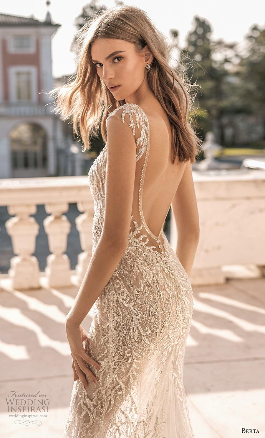 berta 2019 privee bridal cap sleeves deep v neck full embellishment sexy glamorous modified a  line wedding dress low open back backless chapel train (7) zbv