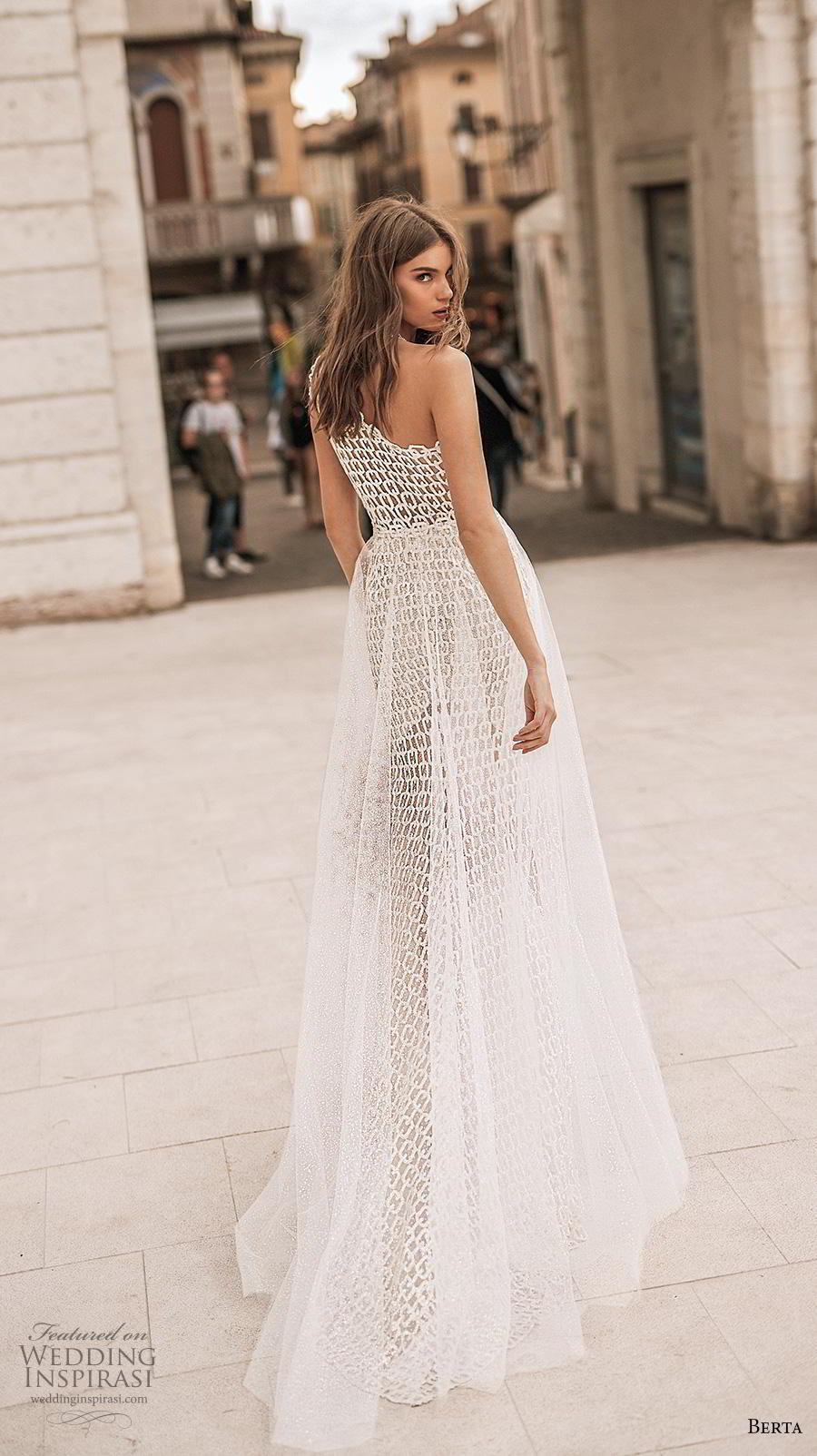 berta 2019 privee bridal cap sleeves one shoulder full embellishment slit skirt elegant modern sheath wedding dress a  line overskirt chapel train (11) bv
