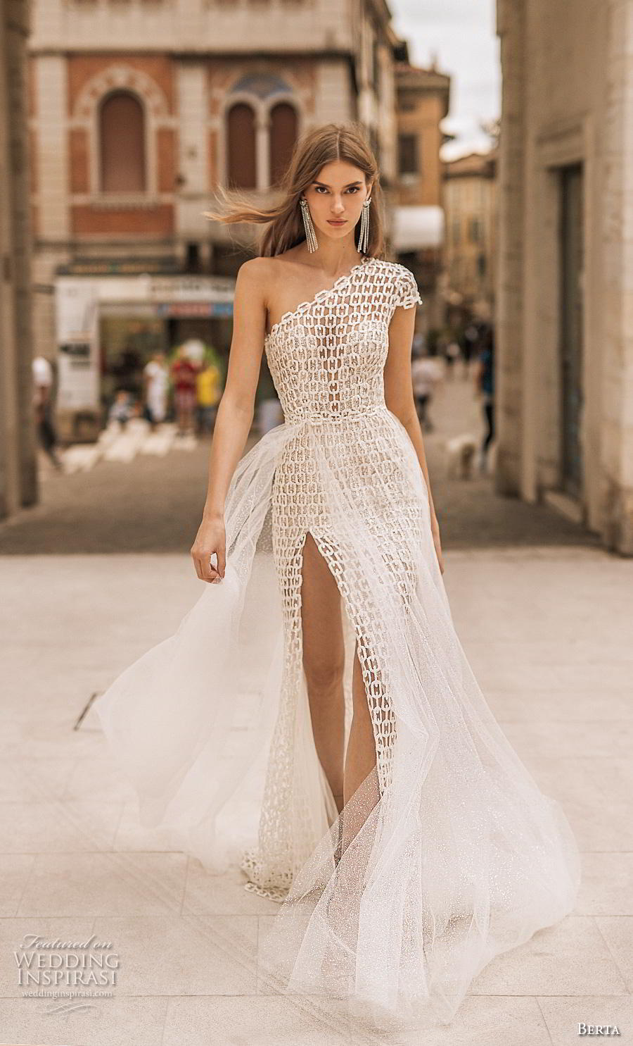 berta 2019 privee bridal cap sleeves one shoulder full embellishment slit skirt elegant modern sheath wedding dress a  line overskirt chapel train (11) mv