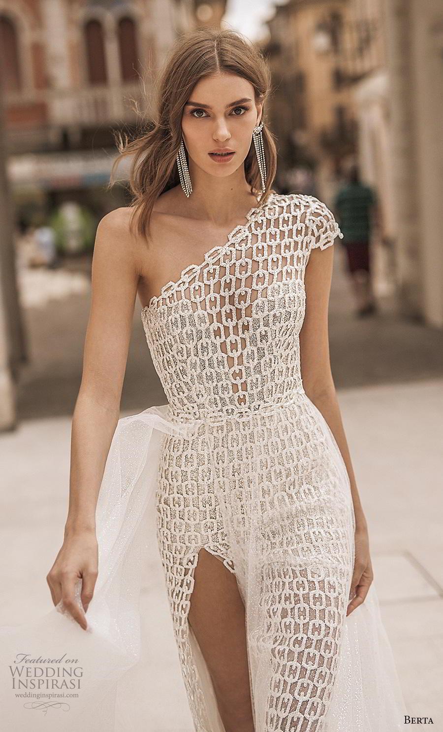 berta 2019 privee bridal cap sleeves one shoulder full embellishment slit skirt elegant modern sheath wedding dress a  line overskirt chapel train (11) zv